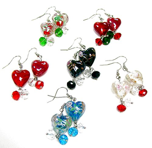 Linpeng/ Woman's Earrings/Lampwork Heart Beads Drop Earrings/Hand Painted Flowers/Beads Sizes Approx. 8 to 15.5mm/Length Around 1.25