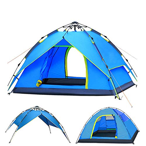 AYAMAYA Camping Tents 3-4 Person Automatic Pop Up, Waterproof Double Layer Quick Setup 2 Doors Hydraulic Automatic Big Family Beach Dome Tent UV Protection for Hiking Picnic Backpacking Travel ()
