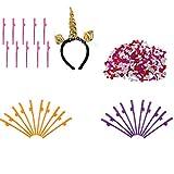 MonkeyJack Color Confetti+Unicorn Horn Headband+30 Dicky Sipping Straw for Lady Night