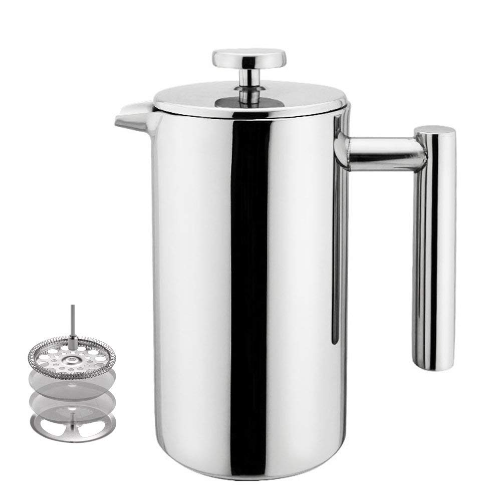 Highwin Small Stainless Steel French Press - 3 cups (4 oz each) Coffee Plunger, Press Pot, Best Tea Brewer & Maker, Quality Cafetiere - Double Walled. Unique Dual-Filter. Individual Serving by Highwin