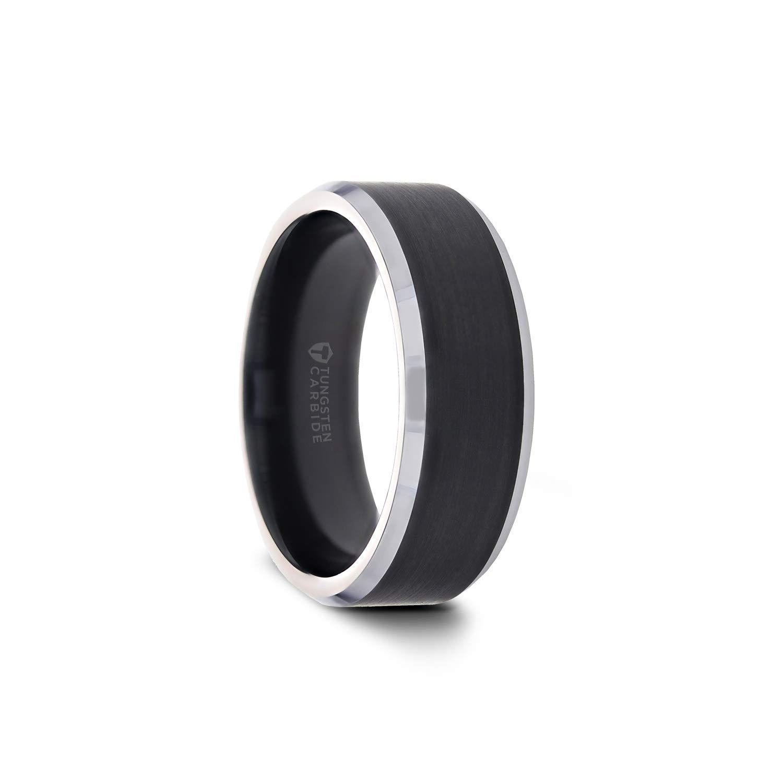 8mm High Polished Titanium Concave Beveled Edge Contemporary Wedding Band