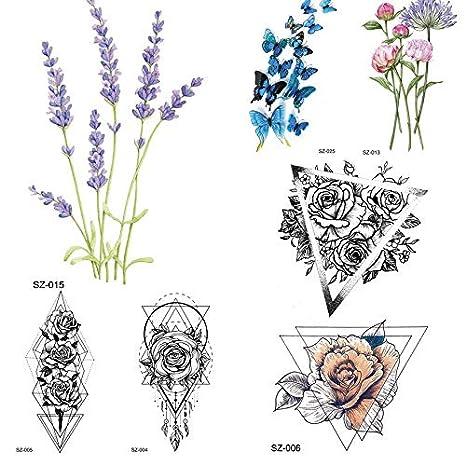 Tatuaje Falso Triángulo Temporal Flor Cuerpo Arte Tatuajes Para ...