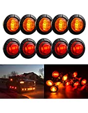 TUINCYN 3/4 Inch White Round LED Indicator Light Bulbs Bullet Shaped Front Rear Side Markers Clearance Marker Light Tail Light Used for Car Trunk.(Pack of 10)