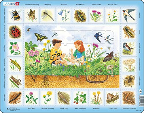 Larsen Puzzles Field Educational Jigsaw Puzzle - 48 Piece Tray & Frame Style Puzzle - Exclusive Premium Hand Made Puzzles - Imported from Norway