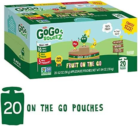 GoGo squeeZ Applesauce on the Go, Variety Pack (Apple Apple/Apple Banana/Apple Strawberry), 3.2 oz (20 Pack)