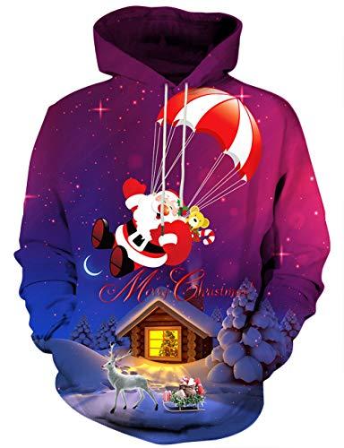 Yasswete Unisex 3D Christmas Logo and Santa Chimney Patterned Hooded Sweatshirts for Kids XL