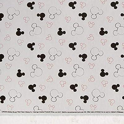 Disney Mickey Head Toss Grey 100/% cotton flannel fabric by the yard