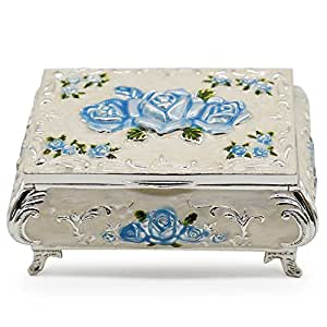 AVESON Luxury Vintage Rectangular Metal Alloy Jewelry Box Organizer Storage Box Ring Trinket Case for Women Girls, Christmas Birthday Gift, Small, Silver & Light Blue