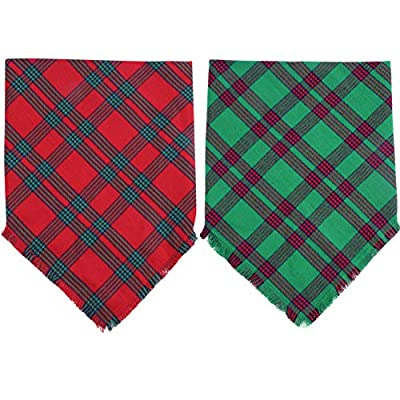 KZHAREEN 2 Pack Christmas Dog Bandana Plaid Reversible Triangle Bibs Scarf Accessories for Dogs Cats Pets Animals by KZHAREEN