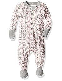 Burt's Bees Baby Baby Girls Micro Cross Stitch Sleeper, Eggshell,