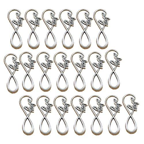 Jili Online 20 Pieces Tibetan Silver Hope Infinity 8 Symbol Charm Pendant Connector Craft ()