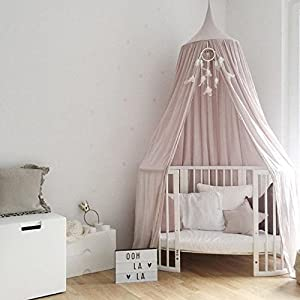 WALLER PAA Kids Canopy Bed Mosquito Netting Bedding Net Dome Baby Reading Play Tents Cotton (Pink)