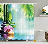 Ambesonne Spa Decor Shower Curtain Set, Symbolic Spa Features with Candle and Bamboos Tranquil and Thoughtful Life Culture Nature Print, Bathroom Accessories, 69W X 70L inches, Multi