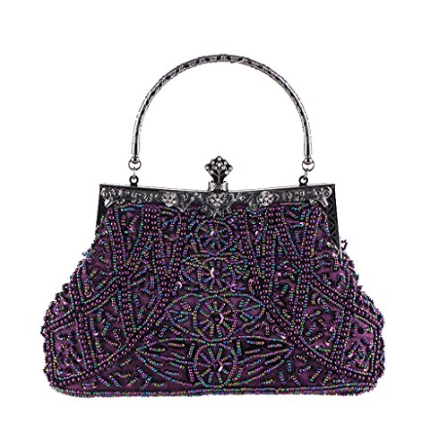 Purse Wedding Women Sequined Vintage Bead Prom Party Clutch Bag Handbag Purple Dabixx Evening Purple HxqPwctYHd