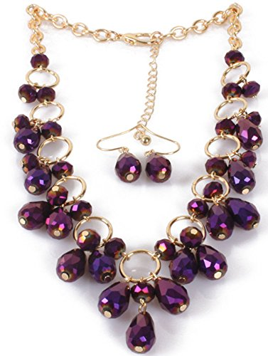 Crystal Chains Tassel Earring - Shineland Drop Tassels Face Crystal Glass Bead Collarbone Chain Necklace And Earring Set (Purple)