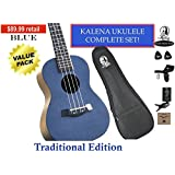 "Kalena Factory Direct Ukulele with instruction book, strap, tuner, extra strings, felt picks, complete set for all ages (24"" Concert Traditional, Deepsea Blue)"