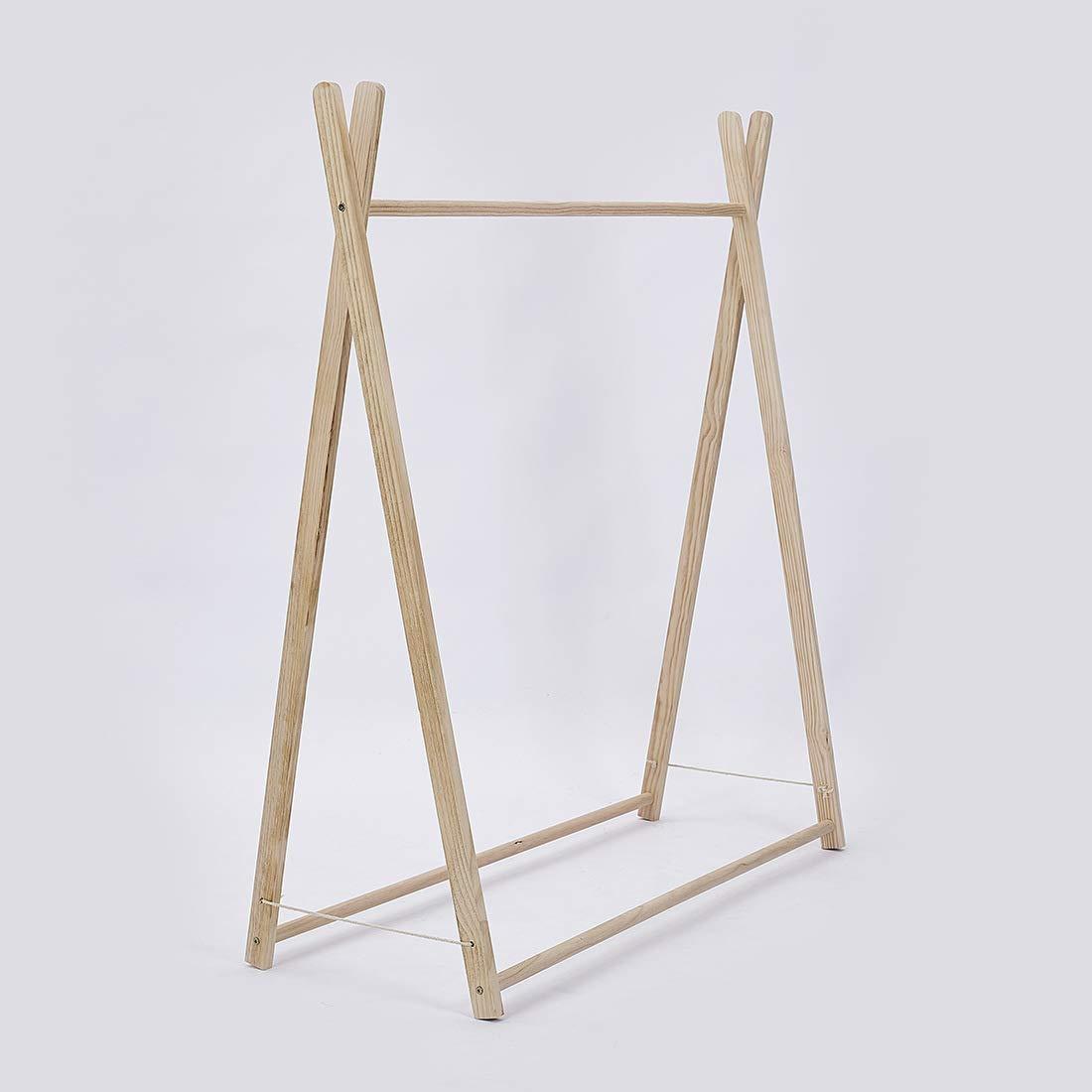 Zhenyu Children's Simple Triangle Coat Rack Mobile Clothes Hanging Storage Rack Hanger Floor Rack Hanger (Wood Color)