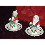 Lenox China Holiday Santa & Mrs. Claus Salt & Pepper Shakers New in Box