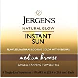 Jergens Natural glow instant sun full-body towelettes, medium bronze, Medium Bronze, Light, Fresh Scent, 6 Count