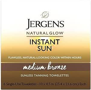 Jergens Natural glow instant sun full-body towelettes, medium bronze, Medium Bronze, Light, Fresh Scent, 6 Count
