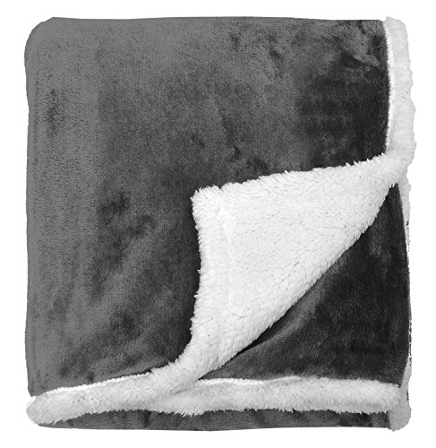 Napa Super Soft Micro Mink Fleece Sherpa Bed Throw TV Blanket 50 x 60 Reversible Grey