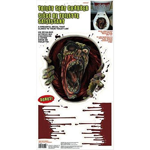Amscan Halloween Zombie Scream Dripping Blood Toilet Topper Scene Setter Decoration Grabber Vinyl Cover ()