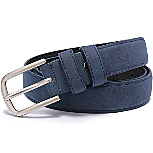 """Beltox Fine Women's Solid Stitched Belt 1.1"""" Wide Alloy Buckle with Gift Box (waist size 33-36, matte leather blue)"""