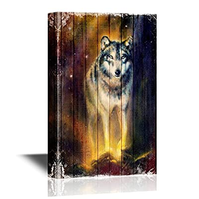 Vintage Night Wolf Wood Style - Canvas Art