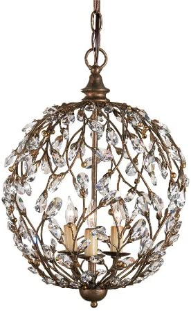 Currey and Company 9652 Crystal Bud 3-Light Sphere Chandelier