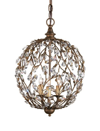 Currey and Company 9652 Crystal Bud 3-Light Sphere Chandelier, Cupertino Finish with Crystal Accents For Sale