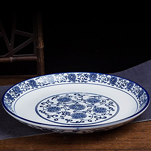 Flower Chop Plate - LHJY Blue And White Porcelain Dish Chop Pepper Fish Head Dish Round Ceramic Tray Shallow Dish Blue And White Dish 9 Inch Disc Of Yanlian