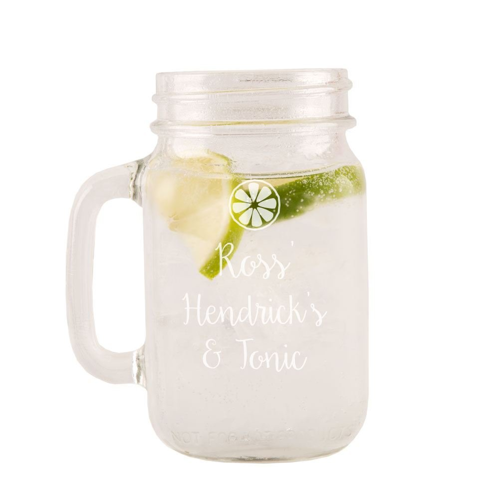 Vintage Gin Glass Personalised Engraved Hendrick/'s /& Slimline Tonic Mason Jar