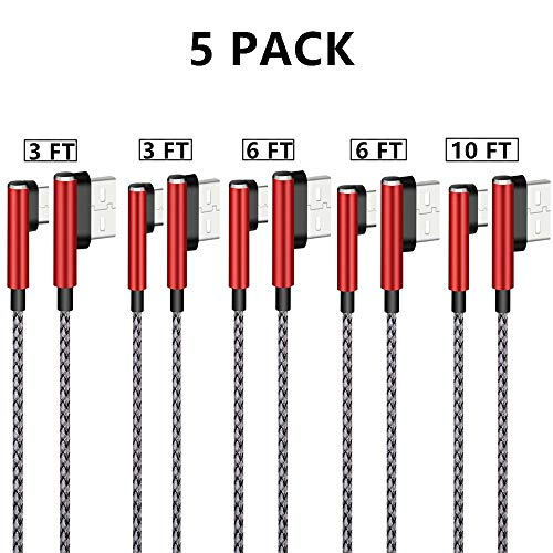 CVO 90 Degree 5 Pack Nylon Braided Long Cord Type A to C Charger for Sumsung Galaxy S8+/S9 Note 8 Plus MacBook LG G6 V20 Google Pixel Nexus 6P Switch -Red (3 3 6 6 10 FT) ()