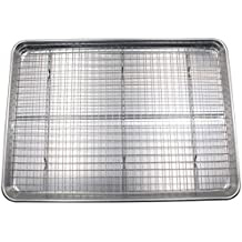 Checkered Chef Cookie Sheet and Rack Set - Aluminum Half Sheet Pan Baking Sheet Set with Stainless Steel Oven Safe Cooling Rack