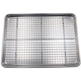 "Checkered Chef Baking Sheet and Rack Set - Aluminum Cookie Sheet/Half Sheet Pan for Baking with Stainless Steel Oven Safe Cooling Rack 44 You asked, we've delivered! Our most popular, best-selling cooling rack now comes in a set with a half sheet pan to make this baking sheet set. Team them together for oven baked bacon and crispy chicken wings, or use separately to bake and cool cookies and cakes. The Baking Rack: 100% stainless steel with no artificial coatings or treatments, perfect for oven use. Our unique strengthening crossbar prevents twisting and warping and quickly made the Checkered Chef Cooling Rack one of the best selling racks on Amazon. Achieving perfect scores for both ""Cleanup"" and ""Strength and Stability"" in recent professional product testing, the Checkered Chef Cooling Rack is proud to be ""Highly Recommended"" by Cook's Country (America's Test Kitchen). The Pan: Sick of burnt bottoms on your baked goods? The sturdy, aluminum construction of the Checkered Chef Half Sheet Pan gives it superior heat conductivity resulting in even baking with no burnt bottoms. No sharp edges on this bakers sheet pan! The reinforced, rolled edge is smooth and safe and provides extra strength to help prevent this heavy duty baking sheet from warping."