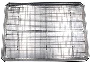 Checkered Chef Half Sheet Pan and Rack Set - Aluminium Cookie Sheet Baking Sheet Set with Stainless Steel Oven Safe Cooling Rack