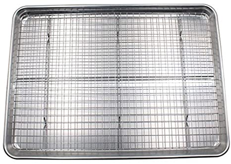 Checkered Chef Baking Sheet And Rack Set   Aluminum Cookie Sheet/Half Sheet  Pan For