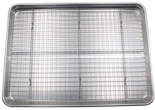 Checkered Chef Baking Sheet and Rack Set – Aluminum Cookie Sheet Tray/Half Sheet Pan for Baking with Stainless Steel…
