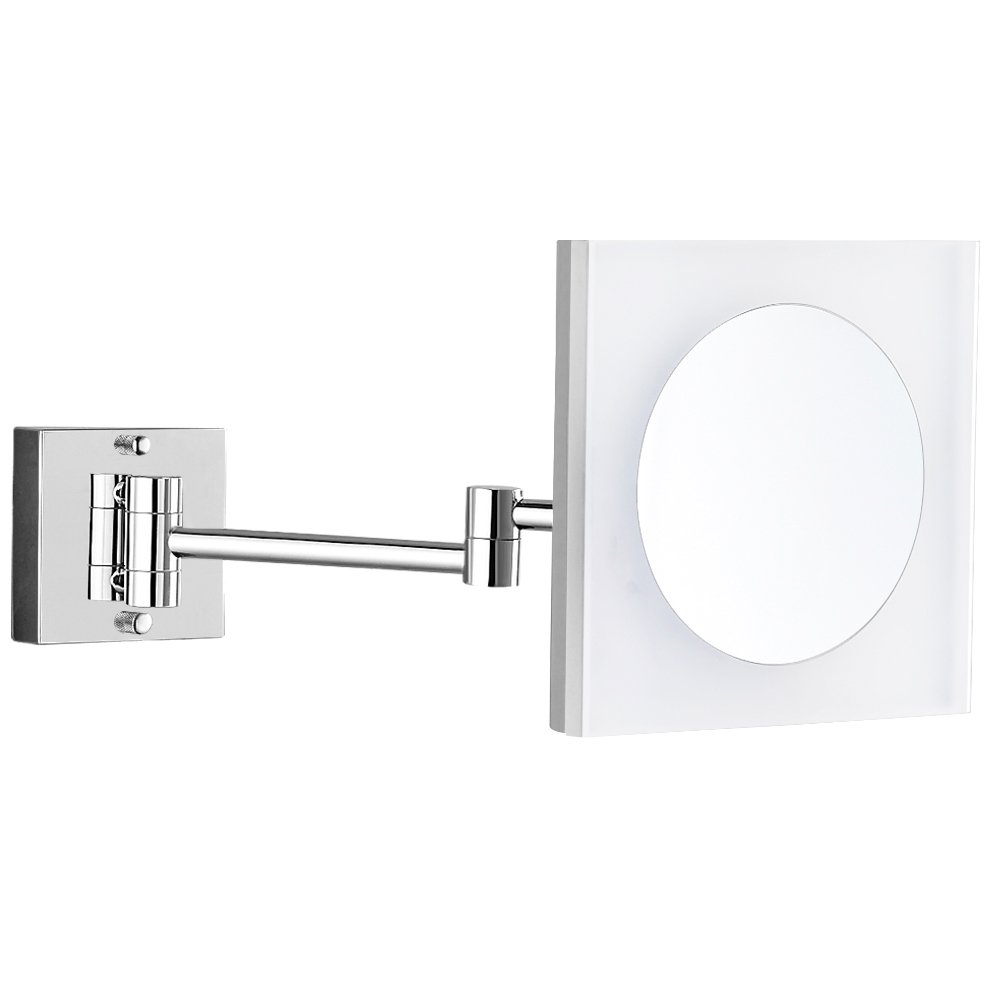 GURUN 8-Inch Adjustable Lighted Wall Mount Magnifying Mirror Acrylic with 3x Magnification,Chrome Finish M1804D(8in,3X)