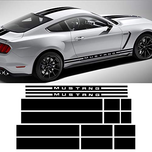 (Charminghorse Side Door Rocker Stripes Hood Roof Trunk Front to Back Side Stripe Kit Vinyl Graphic Decal Stripes Sticker for 2015-2017 Ford Mustang (Gloss Black))