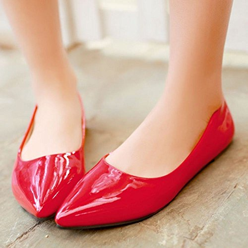 Sexy Candy Toe Red Women Colors TAOFFEN Lady Flat Fashion Footwear Pointed Casual Shoes n0wAZaAYq