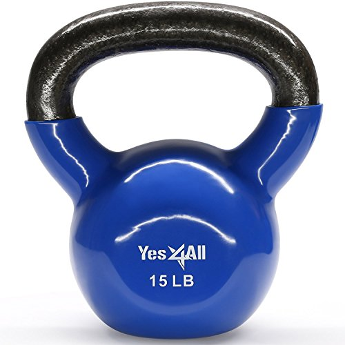 Yes4All Vinyl Coated Kettlebell 15 lbs