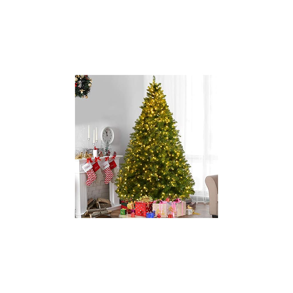 Goplus-Pre-Lit-Christmas-Tree-Artificial-PVC-Spruce-Hinged-with-LED-Lights-and-Solid-Metal-Legs