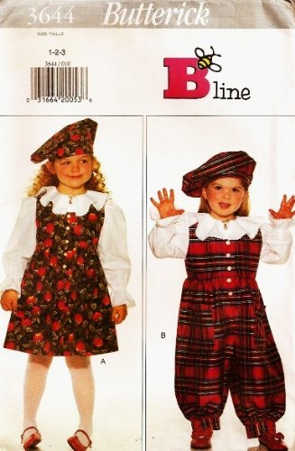 Butterick 3644 (B-LINE) Toddlers / Childrens Jumpsuit, Jumper, Blouse, Beret (hat) Sewing Pattern / Size 4 5 6
