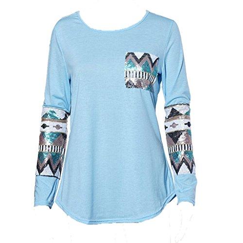 Usstore Women Ladies Pocket Sequins Splice Long Sleeve Tops T-Shirt Blouse (S, Blue)