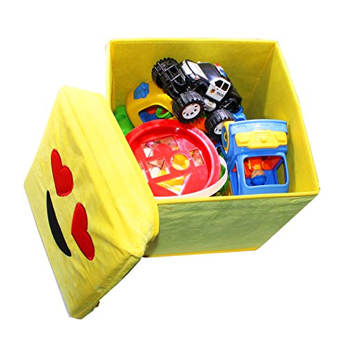 Kids Collapsible Ottoman Toy Books Box Storage Seat Chest: Joyin Toy Pack Of 2 Emoji Toy Storage Chest Collapsible