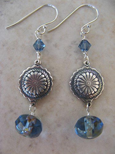 Mixed Metals Blue Czech Picasso Glass Sterling Silver Earrings Boho -