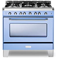Verona VCLFSGG365BL 36 Classic All Gas Range 4 cu.ft. Convection Oven 5 Sealed Gas Burners Cast-Iron Grates EZ Clean Porcelain Oven Light Blue