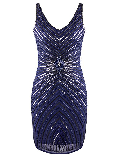 Vijiv Women's 1920s V-Neck Art Deco Sequin Beaded Tank Cocktail Flapper Dress,Navy,X-Small