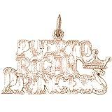 14K Rose Gold Puerto Rican Princess Pendant Necklace - 19 mm
